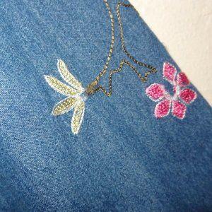 Studio Works Jackets & Coats - Studio Works Denim Jacket Embroidered Flowers Sz S